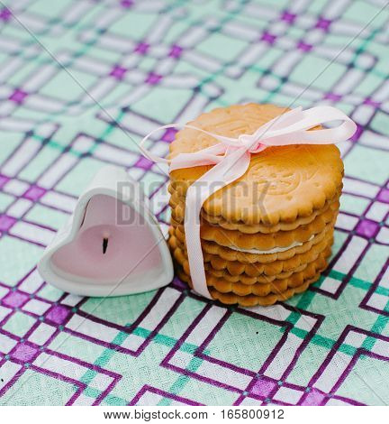 Pastry of a round shape at home.
