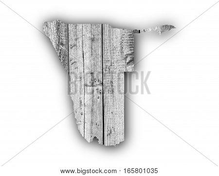 Map Of Namibia On Weathered Wood