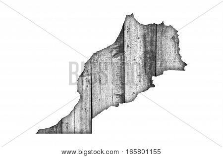 Map Of Morocco On Weathered Wood