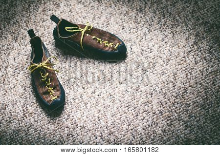 Climbing shoes on a carpet with empty space. Mountaineering equipment for climb. Outdoor