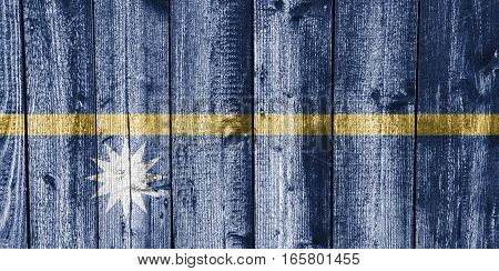 Flag Of Nauru On Weathered Wood