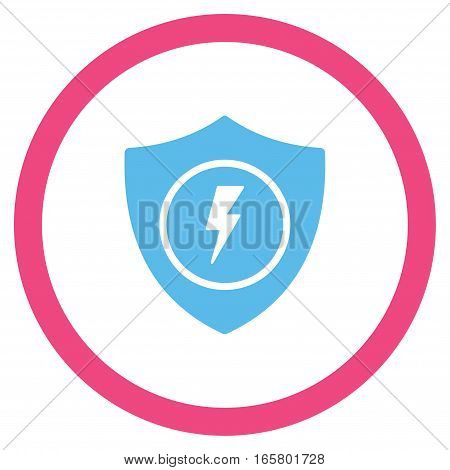 Electric Guard vector bicolor rounded icon. Image style is a flat icon symbol inside a circle, pink and blue colors, white background.