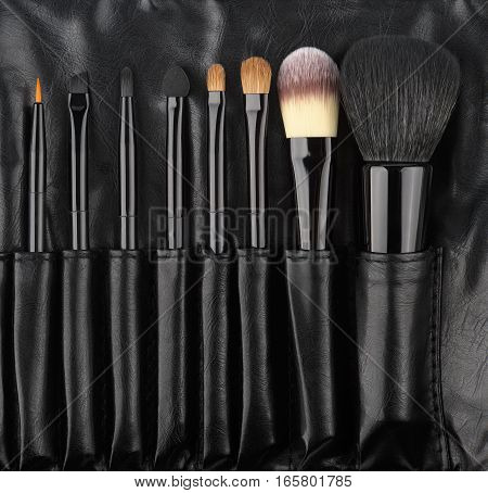 Set Brushes of Make-Up in a holder from leather