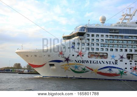 Velsen The Netherlands - May 9 2015: Norwegian Star. The Norwegian Star is a cruise ship owned and operated by Norwegian Cruise Line built in 2001 by the Meyer Werft shipyard in Papenburg Germany.