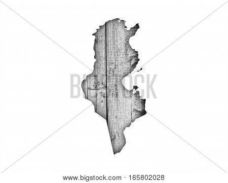 Map Of Tunisia On Weathered Wood