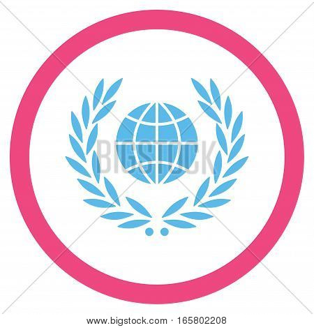 Global Emblem vector bicolor rounded icon. Image style is a flat icon symbol inside a circle, pink and blue colors, white background.