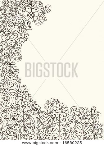 Hand-Drawn Abstract Henna Paisley Doodles and Flowers Border Design Vector Illustration