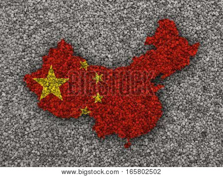 Map And Flag Of China On Poppy Seeds
