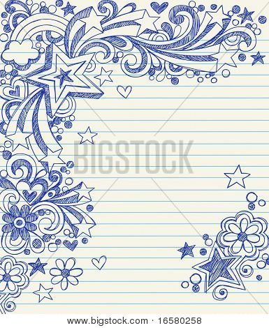 Hand-Drawn Sketchy 3-Dimensional Star Notebook Doodles on Lined Paper Vector Illustration