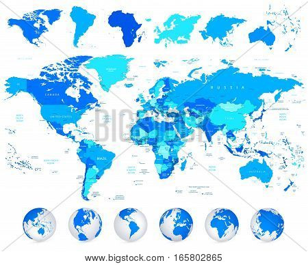 Detailed World map of blue colors and continents isolated on white.