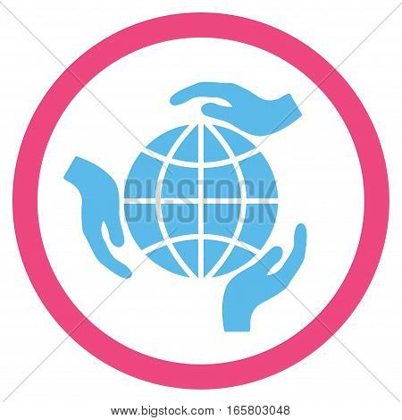 Global Protection vector bicolor rounded icon. Image style is a flat icon symbol inside a circle, pink and blue colors, white background.