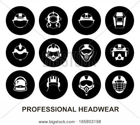 Set of round vector icons. Professional headwear for various professions: tank crewman pilot astronaut firefighter diver miner builder hockey player motorcyclist rider welder crane operator.
