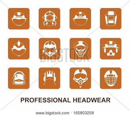 Set of square brown vector icon. Professional head wear for professions: tank crewman pilot astronaut firefighter diver miner builder hockey player motorcyclist rider welder crane operator.