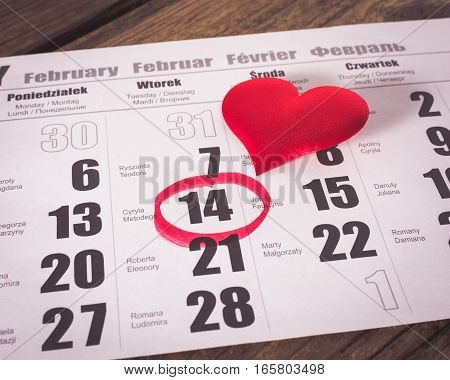Calendar page with red heart. Valentines day.