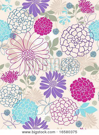 nahtlose wiederholen Muster der feines gebäck Frühling Blumen-Vektor-Illustration-wallpaper