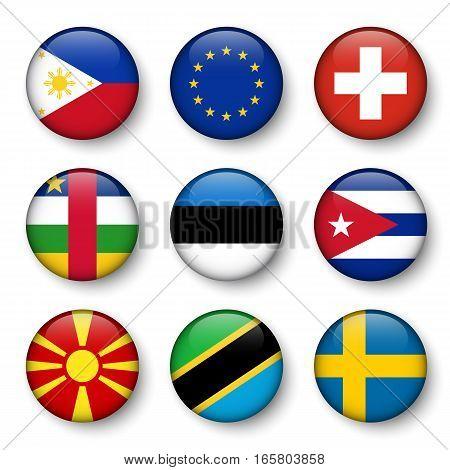 Set of world flags round badges ( Philippines . European union (EU) . Switzerland . Central African Republic . Estonia . cuba . Macedonia . Tanzania . Sweden )