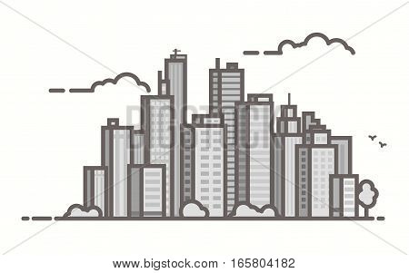 Big city skyline scene. Line outline vector illustration. Skyscrapers and business city center. Clouds and birds. Trendy linear style.