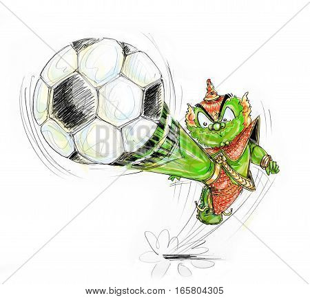 Playing football Thai Giant and sky. kicking Cartoon character design pencil sketch hand drawn and paint brush.