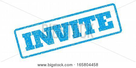 Blue rubber seal stamp with Invite text. Vector tag inside rounded rectangular frame. Grunge design and dust texture for watermark labels. Inclined emblem on a white background.