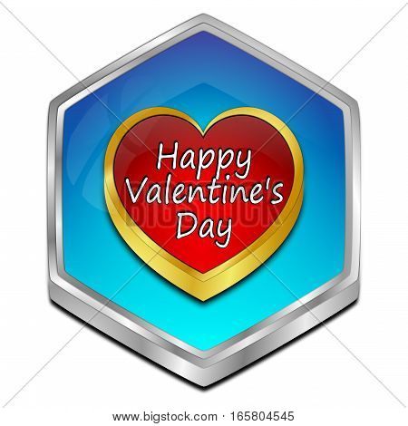blue Happy Valentine's Day button - 3D illustration