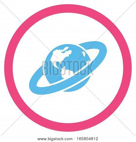Ringed Planet vector bicolor rounded icon. Image style is a flat icon symbol inside a circle, pink and blue colors, white background.