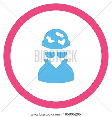 Spotted Spy vector bicolor rounded icon. Image style is a flat icon symbol inside a circle, pink and blue colors, white background.