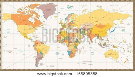 Old retro color political World map. All elements are separated in editable layers clearly labeled.