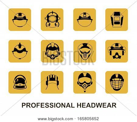 Set of square yellow vector icons. Professional head wear for professions: tank crewman pilot astronaut firefighter diver miner builder hockey player motorcyclist rider welder mounter.