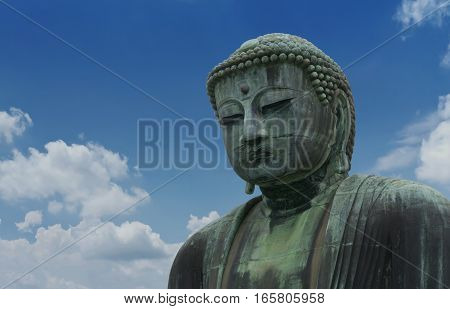 The Great Buddha sculpture is the top landmark of Tokyo Japan. Kamakura Daibutsu at Kotokuin temple - The Famous big buddha bronze statue is the popular tourist place in Japan