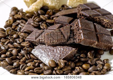 Chocolate with coffee beans with brown sugar