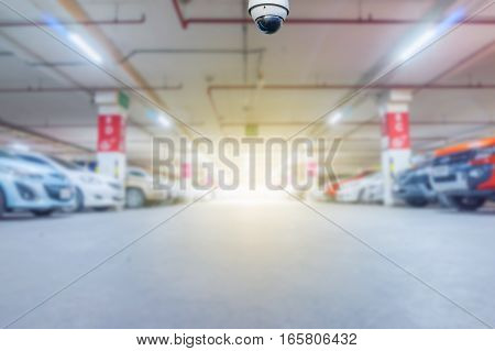 cctv camera installed on the parking lot to protection security