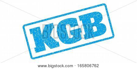 Blue rubber seal stamp with KGB text. Vector tag inside rounded rectangular shape. Grunge design and dust texture for watermark labels. Inclined sign on a white background.