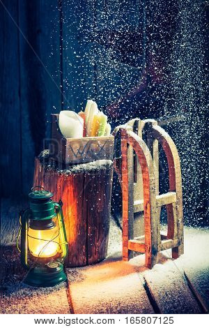 Cozy Winter Hut With Snow And Oil Lamp