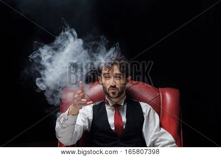 Concept of stress with businessman and smoke in head. Close up