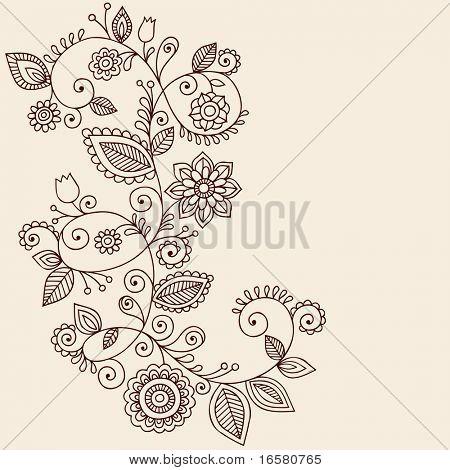 Handgetekende abstracte Henna Mehndi wijnstokken en bloemen Paisley-stijl Doodle Vector Illustratie Design E