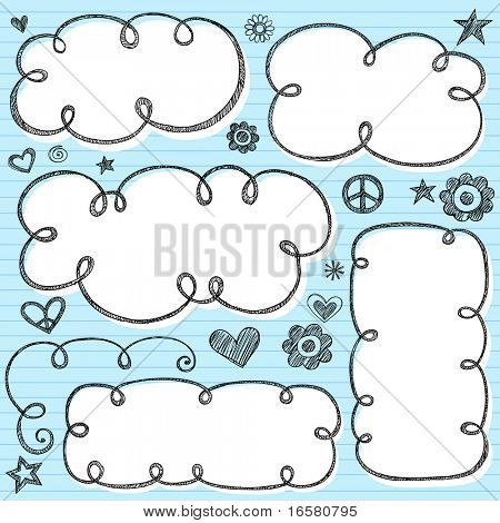 Hand-Drawn Sketchy Cloud Shaped Bubble Doodle Frames- Notebook Doodles on Blue Lined Paper Background- Vector Illustration