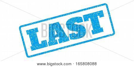 Blue rubber seal stamp with Last text. Vector caption inside rounded rectangular shape. Grunge design and dust texture for watermark labels. Inclined sign on a white background.
