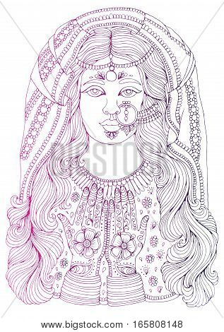 Vector hand drawn colored portrait of an Indian girl with a pattern mehendi on the hands, of the national costume and jewelery. Pattern for coloring page A4 size Indian traditional lifestyle