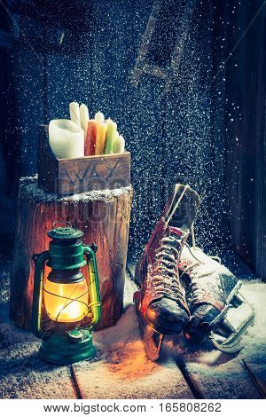 Snowy Winter Hut With Skates And Wax