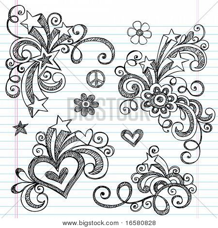 Hand-Drawn Abstract Hearts, Swirls, Flowers, and Stars Sketchy Notebook Doodles Vector Illustration Design Elements on Lined Sketchbook Paper Background