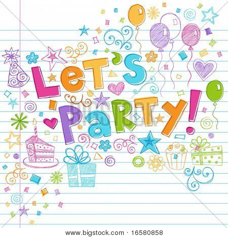 Hand-Drawn Sketchy Let's Party Birthday Celebration Sketchy Notebook Doodles on Lined Sketchbook Paper Background- Vector Illustration