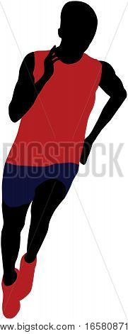 young athlete man running sprint vector illustration