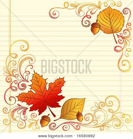 Hand-Drawn Fall / Autumn Season Sketchy Notebook Doodles with Maple Leaf, Acron, and Swirls- Vector Illustration Design Elements on Lined Sketchbook Paper Background