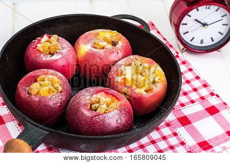 Apples cookies with raisins, honey and powdered sugar. Studio Photo