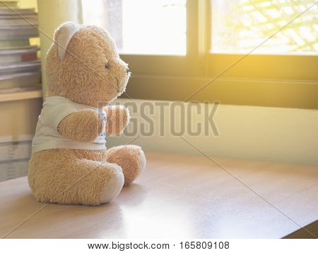 toy teddy bear sits by the window. loneliness and waiting concept.