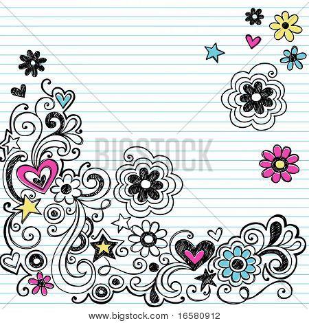 Hand-gezogene skizzenhaften Marker Notebook Doodle-Design-Elemente auf weiß liniert Skizzenbuch Papierhintergrund