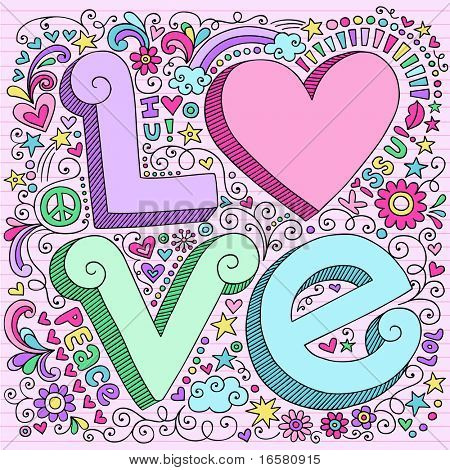 Hand-Drawn 3D LOVE Lettering Psychedelic Groovy Notebook Doodle  Design Elements on Pink Lined Sketchbook Paper Background- Vector Illustration