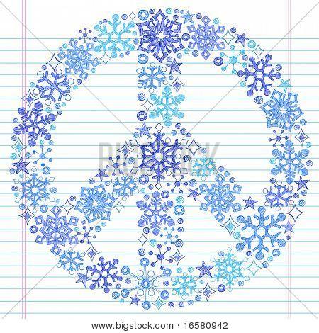 Hand-Drawn Sketchy Doodle Snowflake Peace Sign- Notebook Doodles Vector Illustration Design Elements on Lined Sketchbook Paper Background