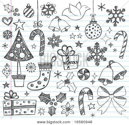 Hand-Drawn Christmas Sketchy Notebook Doodles- Vector Illustration Design Elements on Lined Sketchbook Paper Background