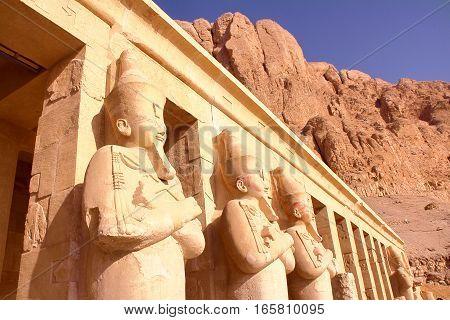 LUXOR, EGYPT: Osiris statue at Hatshepsut temple